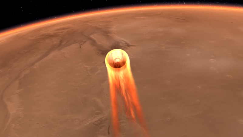Simulation of InSight approaching Mars