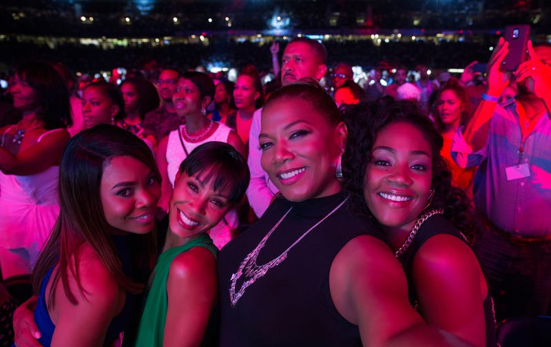 Regina Hall and Jada Pinkett Smith with co-stars Queen Latifah and Tiffany Haddish in scene from Girls Trip (Universal Pictures)