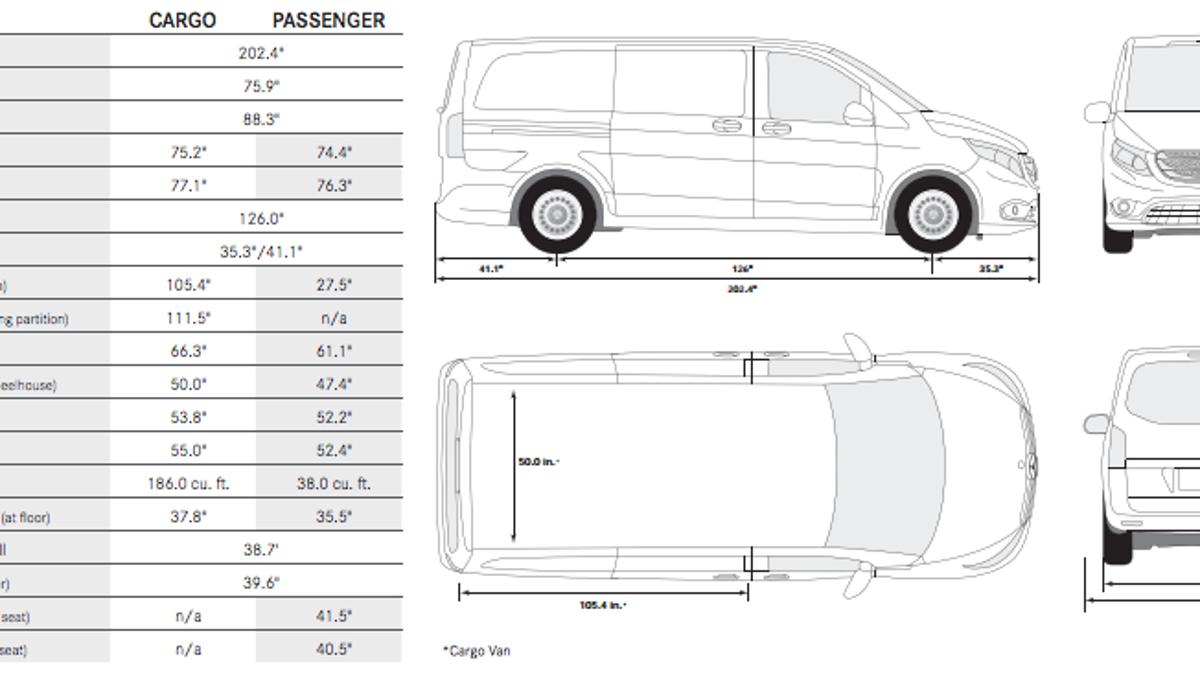 mercedes vito van interior dimensions