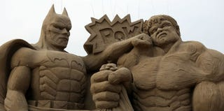 Sand sculpture of Batman and the Incredible Hulk at a festival in Weston-Super-Mare, England (Matt Cardy/Getty Images)