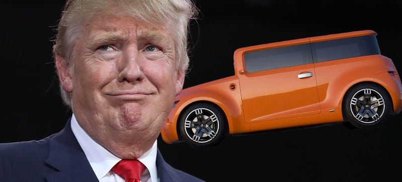 Trump and the 2008 Scion Hako Coupe Concept. Photo Credits: Getty Images, Toyota
