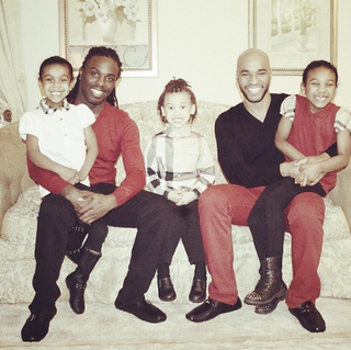 Kordale Lewis (left), Kaleb Anthony and their three children.Instagram/KordalenKaleb