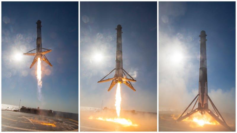 Illustration for article titled Por fin tenemos las fotos en primer plano del histórico aterrizaje de SpaceX sobre el mar