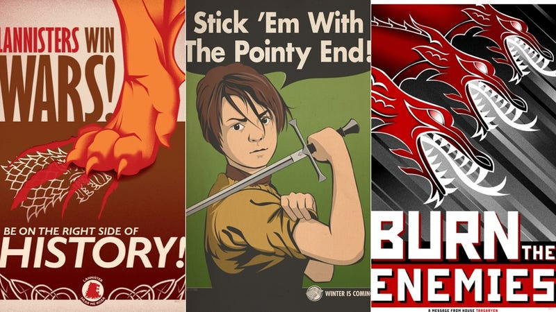 Illustration for article titled Westeros meets WWII in these Game of Thrones propaganda posters