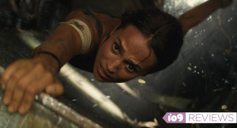 Hanging on by a thread is Alicia Vikander as Lara Croft in Tomb Raider.