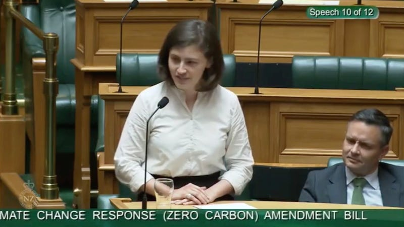 """Chlöe Swarbrick, a member of New Zealand parliament, who dismissed a heckler with """"OK Boomer"""" during her speech"""