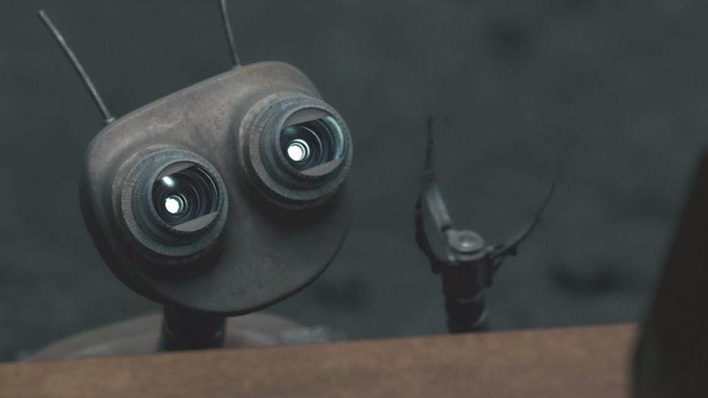 """Illustration for article titled Cool short film """"Wire Cutters"""" features cute robots fighting each other"""