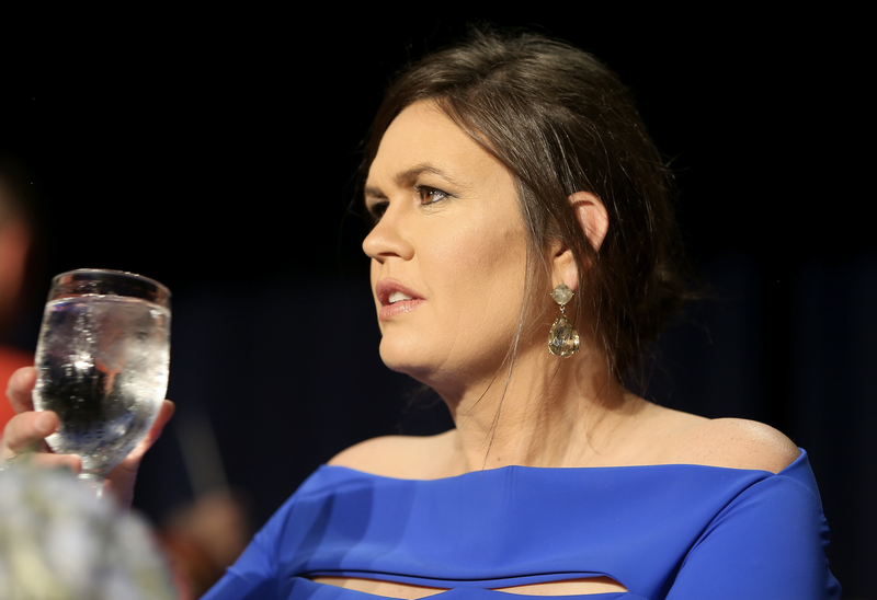 Sarah Huckabee Sanders attends the 2018 White House Correspondents' Association dinner on April 28, 2018, at the Washington Hilton in Washington, D.C.