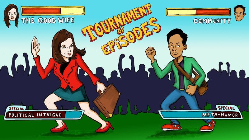 Illustration for article titled It's Community versus The Good Wife in the Tournament Of Episodes' final match