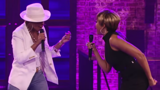 Mary J. Blige and Taraji P. Henson during a lip-synching performance on Spike TVYouTube Screenshot