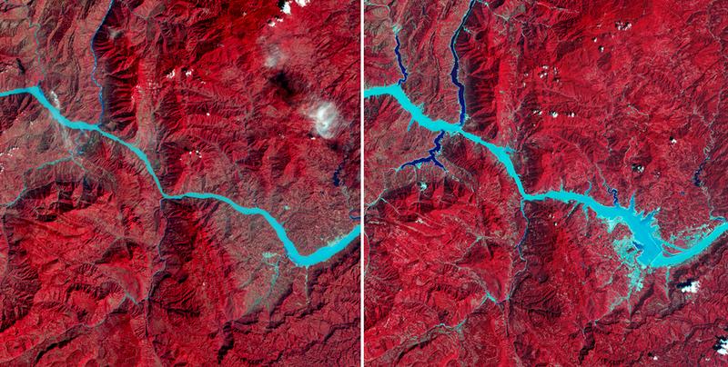 Evolución del río Yangtsé tras la construcción de la masiva presa de las tres gargantas. Foto: NASA