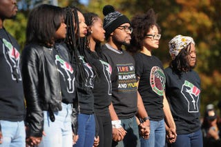 Jonathan Butler (third from right), a University of Missouri grad student who did a seven-day hunger strike, at the campus of the University of Missouri on Nov. 9, 2015, in Columbia.Michael B. Thomas/Getty Images