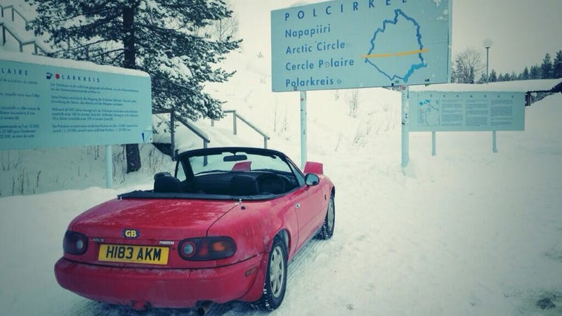 Illustration for article titled Hero Drives Topless Mazda Miata Across Arctic Circle