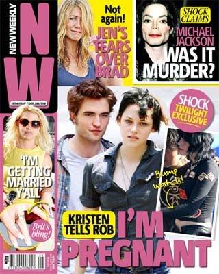 Illustration for article titled Kristen Stewart Pregnancy Rumors; Michael's Star-Studded Memorial