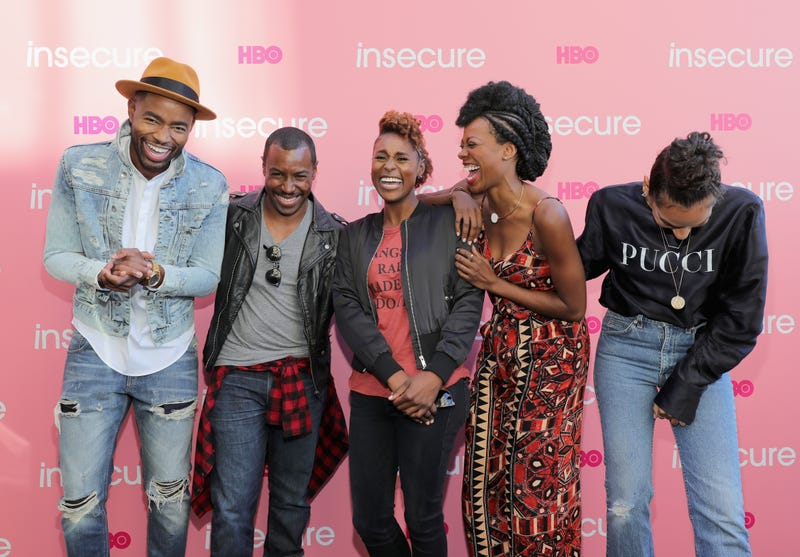Insecure cast members Jay Ellis, Prentice Penny, Issa Rae, Yvonne Orji and Melina MatsoukasNeilson Barnard/Getty Images for HBO