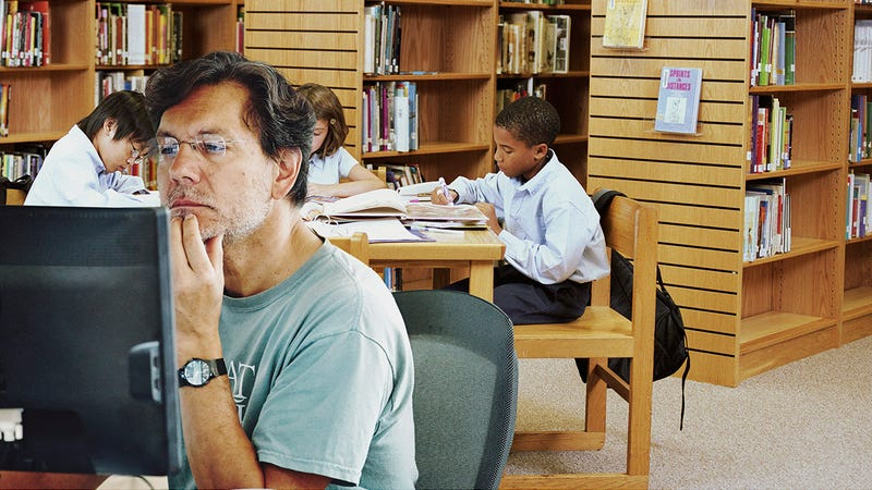 Illustration for article titled In The Presence Of Greatness: This Man Watching Porn At The Public Library Has No Idea That He's Sitting One Table Away From The Best History Student In Mrs. Miller's Whole 4th-GradeClass
