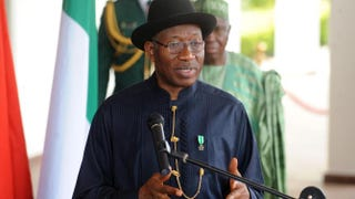 Nigerian President Goodluck Jonathan speaks during a joint press briefing with the Chinese prime minister at the presidential villa in Abuja on May 7, 2014.PIUS UTOMI EKPEI/AFP/Getty Images