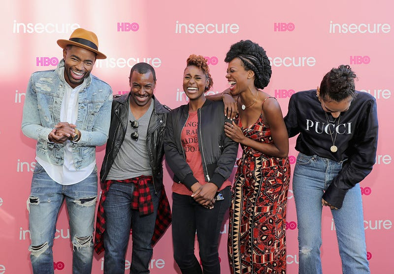 Jay Ellis, Prentice Penny, Issa Rae, Yvonne Orji and Melina Matsoukas attend HBO's Insecure Block Party on Sept. 25, 2016, in Brooklyn, N.Y. (Neilson Barnard/Getty Images for HBO)