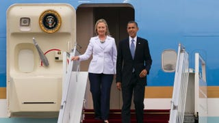 Then-Secretary of State Hillary Clinton and President Barack Obama arriving in Myanmar Nov. 19, 2012Paula Bronstein/Getty Images