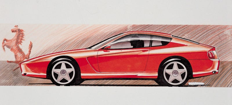 The Ferrari 456GT was about as '90s as the company got, though the production car wasn't quite as squiggly as this design sketch.