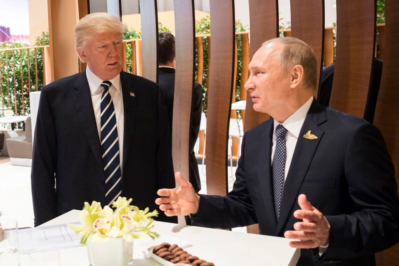 President Donald Trump meets Vladimir Putin, president of Russia, during the G-20 summit on July 7, 2017, in Hamburg, Germany.  (BPA via Getty Images)
