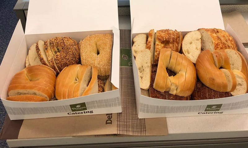 """Bagels sliced """"St. Louis style"""" which is an affront to both God and nature"""