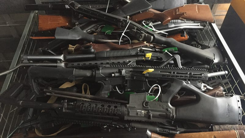 In this handout image provided by New Zealand Police, collected firearms are seen at Riccarton Racecourse on July 13, 2019 in Christchurch, New Zealand.