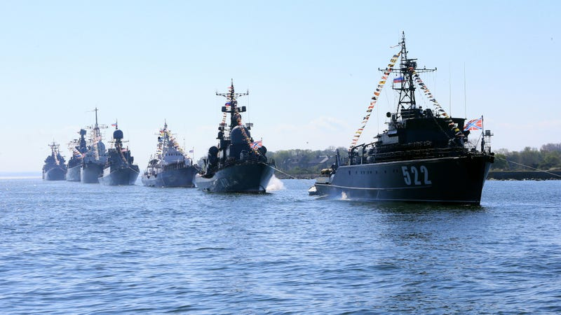 Ships of Russia's Baltic Fleet sailing in formation for the V-E Day parade, May 2015.
