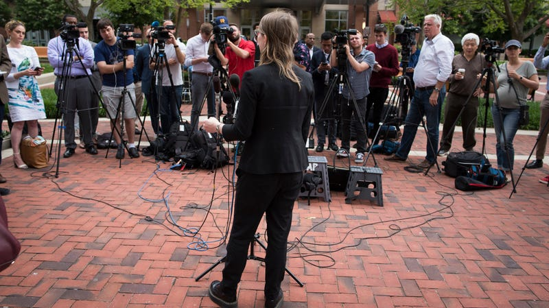 Former Army intelligence analyst Chelsea Manning speaks with reporters, after arriving at the federal courthouse in Alexandria, Va., Thursday, May 16, 2019. Manning spoke about the federal court's continued attempts to compel her to testify in front of a grand jury.