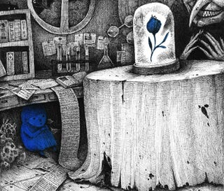 Illustration for article titled Concept Art Writing Prompt: Blue Girl in the Chemist's Lair
