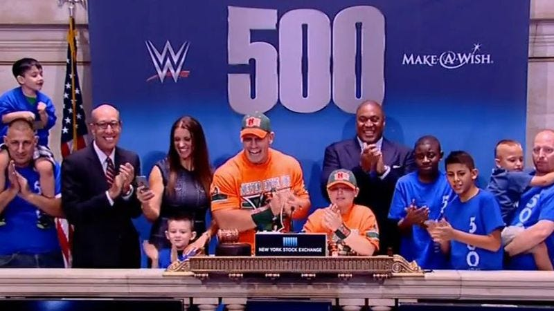 John Cena and fans at the New York Stock Exchange