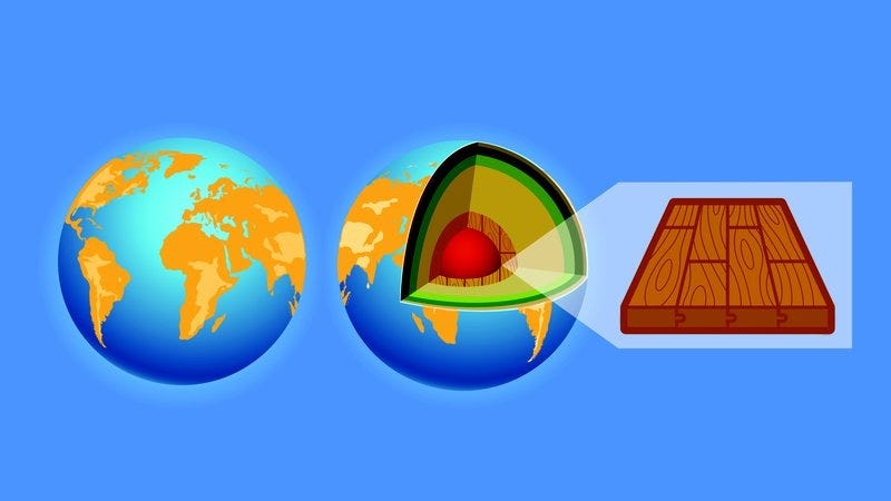 A diagram of Earth showing hardwood floors beneath the Earth's crust.