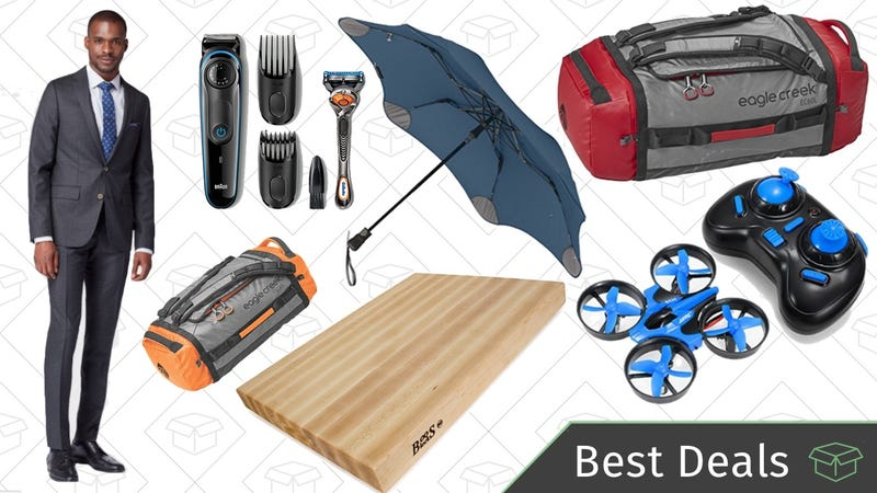Illustration for article titled Tuesday's Best Deals: Storm-Proof Umbrellas, Cutting Board, Custom-Tailored Suits, and More