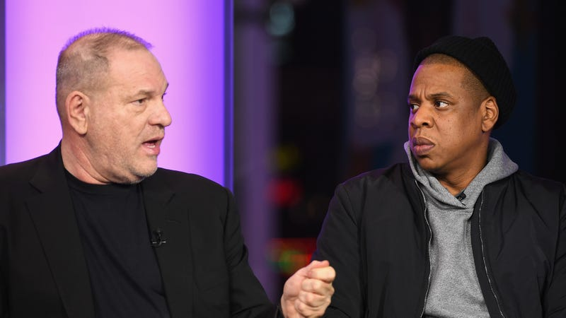 Harvey Weinstein and Jay-Z speak onstage during a discussion related to the U.S. criminal-justice and the film Time: The Kalief Browder Story on March 8, 2017, in New York City.