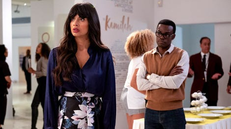Eleanor and Tahani's separate missions see The Good Place