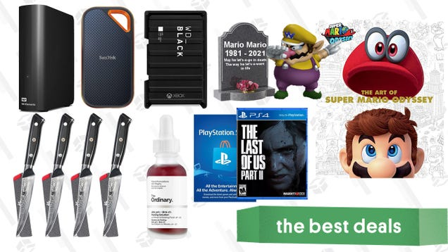 Wednesday s Best Deals: Hard Drive Sale, PlayStation Store Gift Card, Kyoku Damascus Knives, The Ordinary Peeling Solution, The Art of Super Mario Odyssey, and More