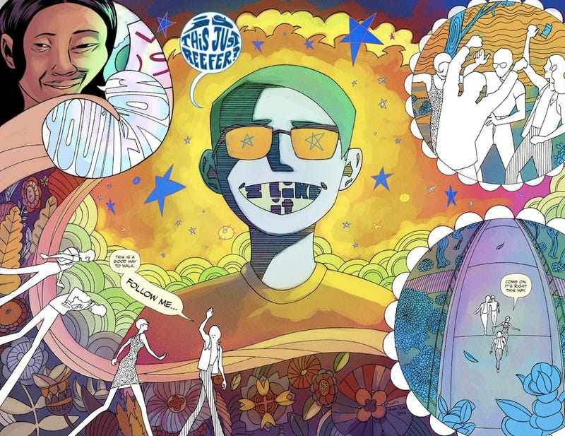 Illustration for article titled A superpowered poet meets a conspiracy during the Summer of Love