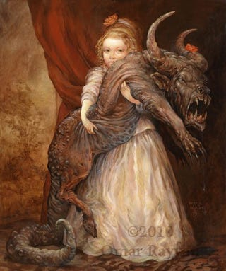 Concept Art Writing Prompt: Portrait of a Girl with her Demon Pet