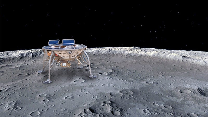 Concepto artístico del Beresheet sobre la superficie lunar