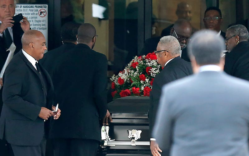 The casket carrying Botham Shem Jean arrives at Greenville Avenue Church of Christ on September 13, 2018 in Richardson, Texas.