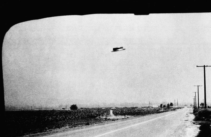 One of three photos of a supposed UFO taken by Rex Heflin, August 3, 1965, near Santa Ana, Calif. Heflin was an Orange County highway department investigator.
