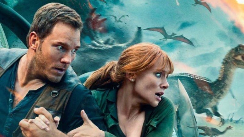 Chris Pratt and Bryce Dallas Howard are quite scared on the poster for Jurassic World: Fallen Kingdom.