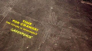 Illustration for article titled Greenpeace puede haber dañado gravemente las líneas históricas de Nazca