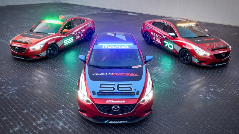 Illustration for article titled Mazda6 Skyactiv-D Clean Diesel Racecars To Tackle Thunderhill 24-Hour