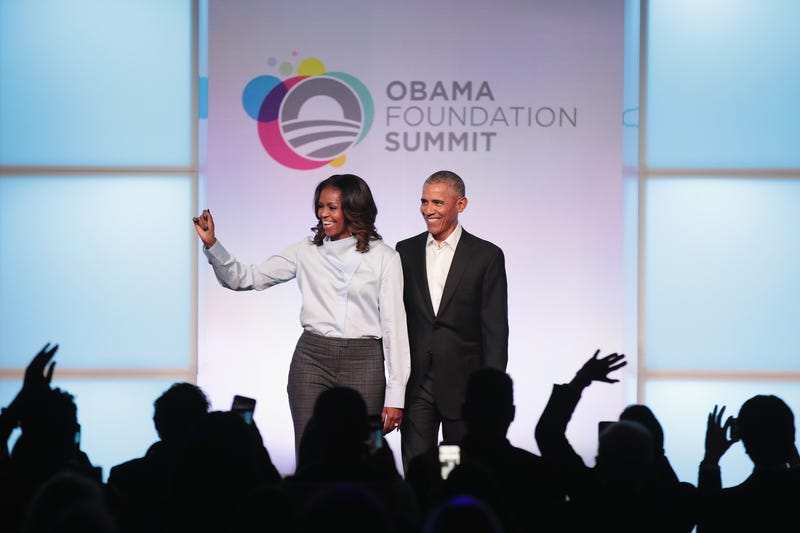 Michelle and Barack Obama at the inaugural Obama Foundation Summit on Oct. 31, 2017, in Chicago