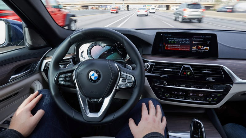 Illustration for article titled BMW: Go Ahead, Take Your Hands Off The Wheel Of Our 5 Series Prototype, It's Fine