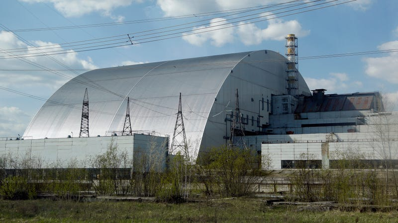 Chernobyl reactor number four, covered with the sarcophagus.