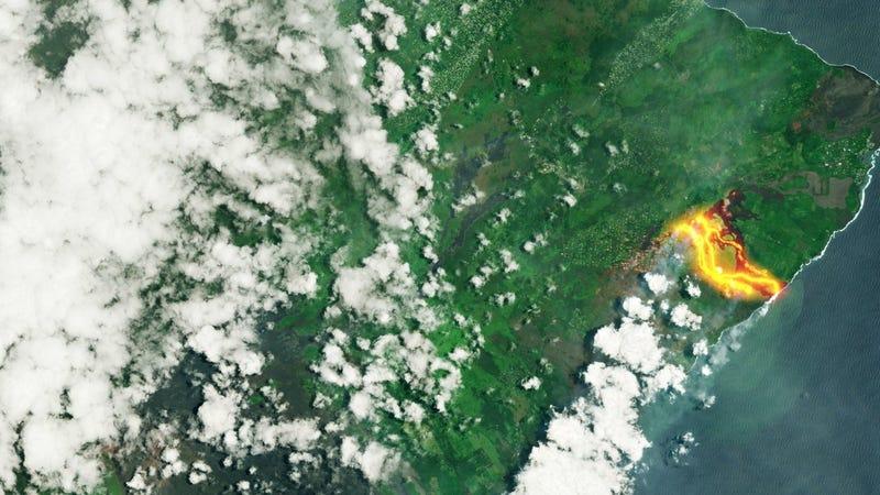 Illustration for article titled Los ríos de lava del Kilauea al rojo vivo, vistos desde el espacio