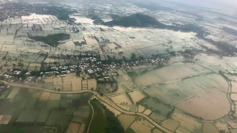 Homes and fields inundated with water on June 16. 2018.