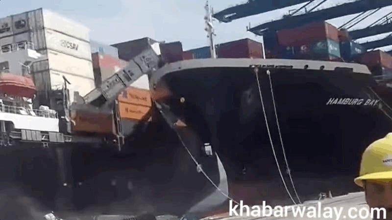 Cargo Ship Crashes Into Cargo Ship Sending Cars Falling Into The Water